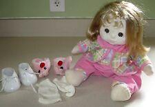 Vintage Mattel *MY CHILD* Doll Ash Blonde Hazel Eyes + Rabbit Bunny Shoes Outfit