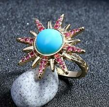 Jewelry Betsey Johnson enamel blue crystal crystal Flower Ring Europe America