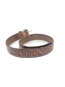 "Madison Embossed Leather Belt 26"" Brown W Silver Hardware Western Name Belt"