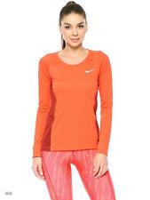 Women's Nike Dri-Fit Miler Long-Sleeve Running Gym Top - Size Small S Orange