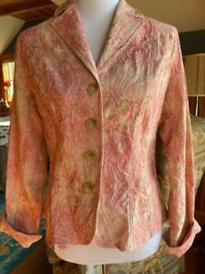 COLDWATER CREEK pink multi unlined cotton blend blazer jacket size 8 NWT