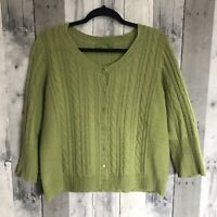 RXB Sz L 2-ply Cashmere Cable Knit Green Button Front Cardigan Sweater
