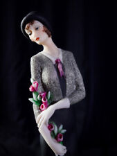 """Vintage Giuseppe Armani """"Lady with Flowers"""" Florence Figurine In Style of Erte"""