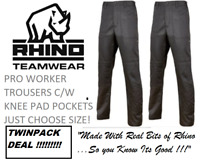 2 X RHINO WORKER PLUS Trousers Combat Cargo Work Pants BLACK TRADE PRO