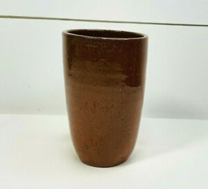 Vintage Ben Owen Tobacco Spit Glaze Pottery Tumbler Cup Orange Brown