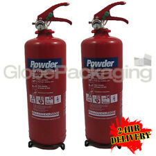 2 x 2KG POWDER ABC FIRE EXTINGUISHERS HOME OFFICE CAR
