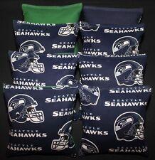 """All Weather """"Seattle Seahawks"""" Cornhole Bean Bags Resin Filled Waterproof!"""