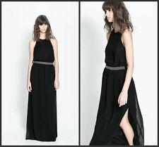Zara V-BACK DRESS Maxi Long dress Black color Size M NWT
