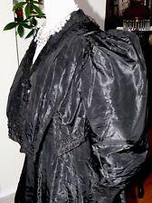 Victorian 3 Pc. Dress Black Silk Taffeta Mourning  Ensemble Very Full Sleeves S