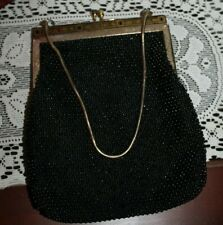New listing antique Black & Gold Beaded Purse - Hand Made in Hong Kong
