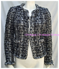 """CHANEL  LITTLE BLACK ECRU JACKET"" 03A  PYRAMID  LESAGE SEQUIN TWEED  42 NEW"
