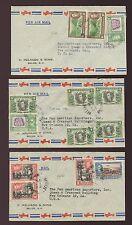 BRITISH HONDURAS 1948 AIRMAILS to NEW ORLEANS 21c MELHADO ENVS..3 DIFF.FRANKINGS