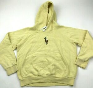 NEW Ralph Lauren Polo Sweater Hoodie Youth Size Large Yellow Pullover Big Pony