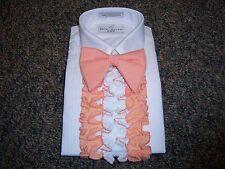 Vintage Boys Tuxedo Shirt - Peach & White Detachable Ruffles / Dickie 3D