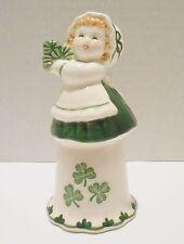 Vtg Irish Lass Girl Shamrock Clover Porcelain Green Dinner Bell