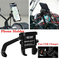 Motorcycle Handlebar Rear Mirror Screw Phone Bracket Holder w/USB Fast Charger