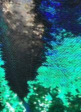 Fabric-FlipUp Mermaid 5mm Sequins Spandex -Reversible{Green/Black}AbFabric16