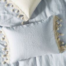 NIP Anthropologie Tasseled Linen KING Shams in Sky Blue - Set of 2