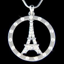w Swarovski Crystal French Eiffel Tower Paris France Circle of Love Necklace New