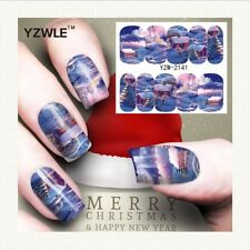 Nail Art Water Decals Stickers Christmas Blue Winter Wonderland House (A141)