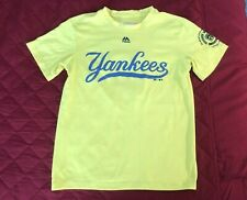 Rare Majestic Cool Base Boys Little League Yankees Neon Jersey Size Youth Small