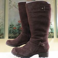 NWB WOMENS AUTHENTIC UGG BROWN SUEDE & SHEARLING TALL FULL ZIP JILLIAN  BOOTS 11