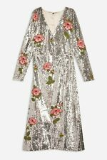 Women's Topshop Glamorous Silver Sequin and Floral Beaded Wrap Dress size 12