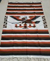 Mexican Blanket Vintage Style Brown Eagle Snake XL Native Serape Saltillo Gift