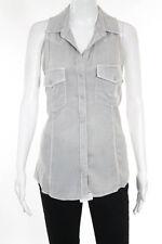 Bella Dahl Light Gray Sleeveless V Neck Button Down Shirt Blouse Size Large
