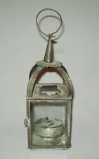 Antique vtg 19th C 1840s American Tin Lantern W/ Original Whale Oil Lamp Burner