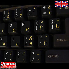 Spanish English Black Keyboard Stickers with Yellow Letters Laptop Computer PC