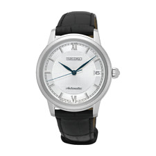 Seiko JAPAN Made Pre- Presage Silver Dial Ladies' Black Leather Strap Watch