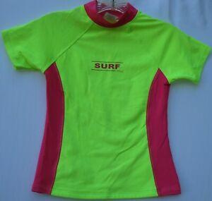 Lands' End short sleeve 100% polyester rash guard shirt kids size small 7/8