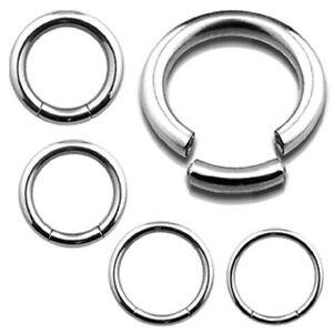 4g - 16g  Heavy Gauge Segment Ring Earring Sleeper Clicker Hoop Genital Ring Bar