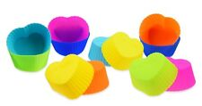 12 Heart Shape Cupcake Muffin Mold Made of Silicone - 6 Colors Baking Tin