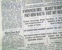 GABRIELE D'ANNUNZIO Italian Writer Poet Playwright DEATH 1938 Old Newspaper