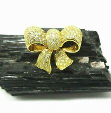 22 K Yellow GOLD & DIAMOND Bow & Ribbon Brooch 1 CTW w/ Appraisal