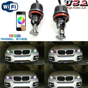 Canbus 120W H8 RGB WIFI Halo Ring Marker Angel Eyes LED For 2007-2011 BMW X5 X6