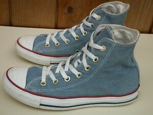 CONVERSE All Star Chuck Taylor Blue Hi Top Double TongueTrainers Size UK 6