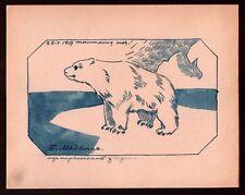 1917 Russian Art Sermoskin Ivan Ink on paper Original Drawing Polar bear