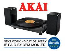 Akai 3 Speed Vinyl Turntable and Stereo Active Speakers Set Gloss Black