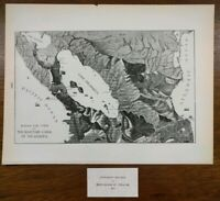 """NICARAGUA CANAL 1903 Vintage Atlas Map 14""""x11"""" ~ Old Antique GREYTOWN MANAGUA"""