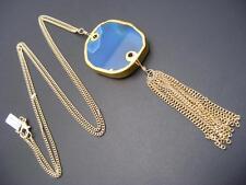 $18 Nordstrom Polished Blue Stone Gilded Frame Tassel Pendant Necklace Goldtone
