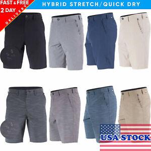 Mens Hybrid Board Shorts Quick Dry Stretch Golf Training Short Beach Swim Trunks