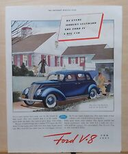 1937 magazine ad for Ford - By Every Standard a Big Car - blue Ford