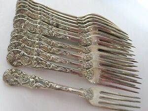 "Bacchanalian Pattern RARE Set 12 Antique English Sterling Silver Forks 7"". 1825"