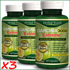 3 BOTTLES - 180 GARCINIA CAMBOGIA EXTREME Weight Loss Diet Capsules Slim Pills