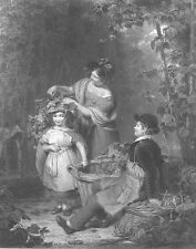 FAMILY Pick Beer HOPS on FARM Field PLAY TIME Brewery ~ 1851 Art Print Engraving