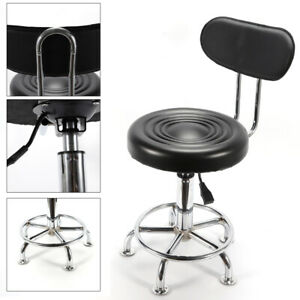 Tall Work Shop Stool Rolling Chair Swivel Adjustable Height Garage Seat Footrest