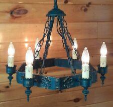 Vtg Gothic Chandelier Medieval Spanish Style Metal Chandelier 6 Light Fixture